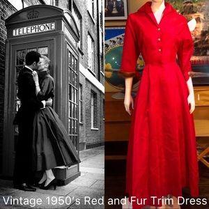 Vintage 1950's Red and Fur Trim Cuffs 💃💎